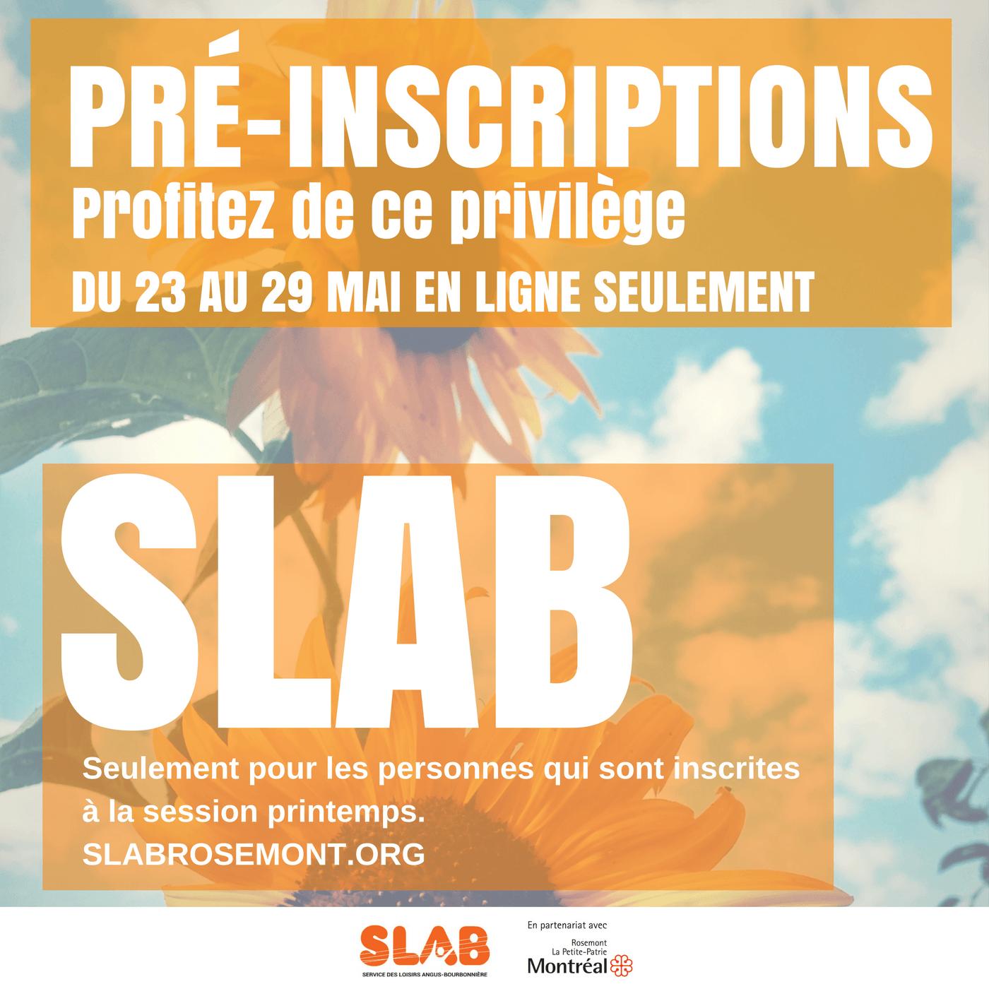 Pré et inscriptions Été 2017 SLAB