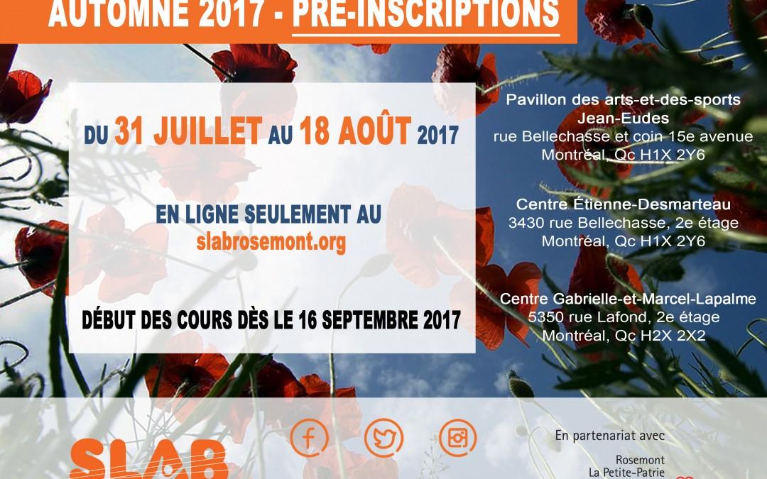 Préinscriptions pour la session d'automne 2017!