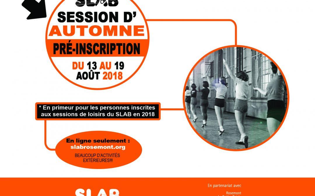 Pré-inscriptions session Automne 2018